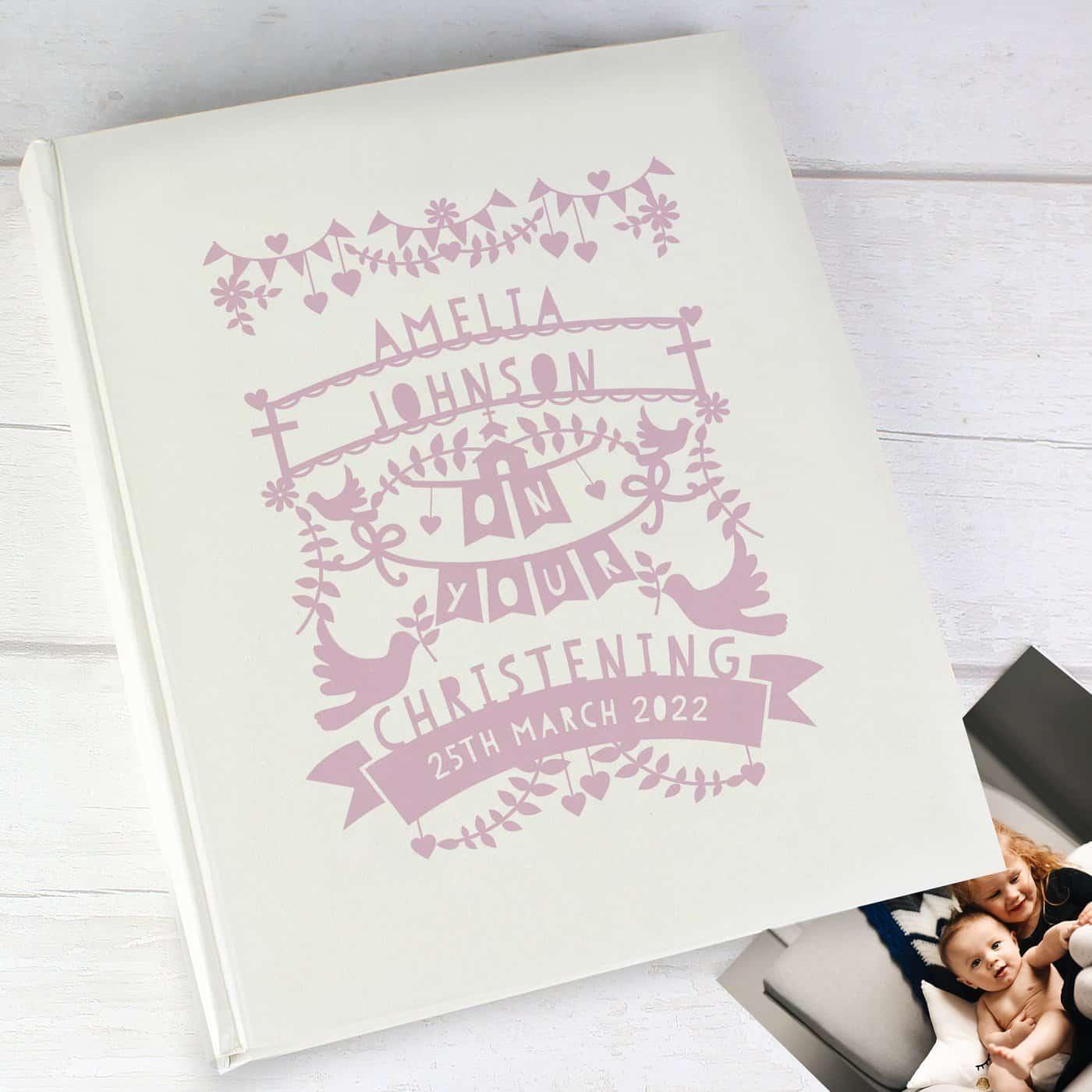 Personalised Pink Papercut Style Photo Album