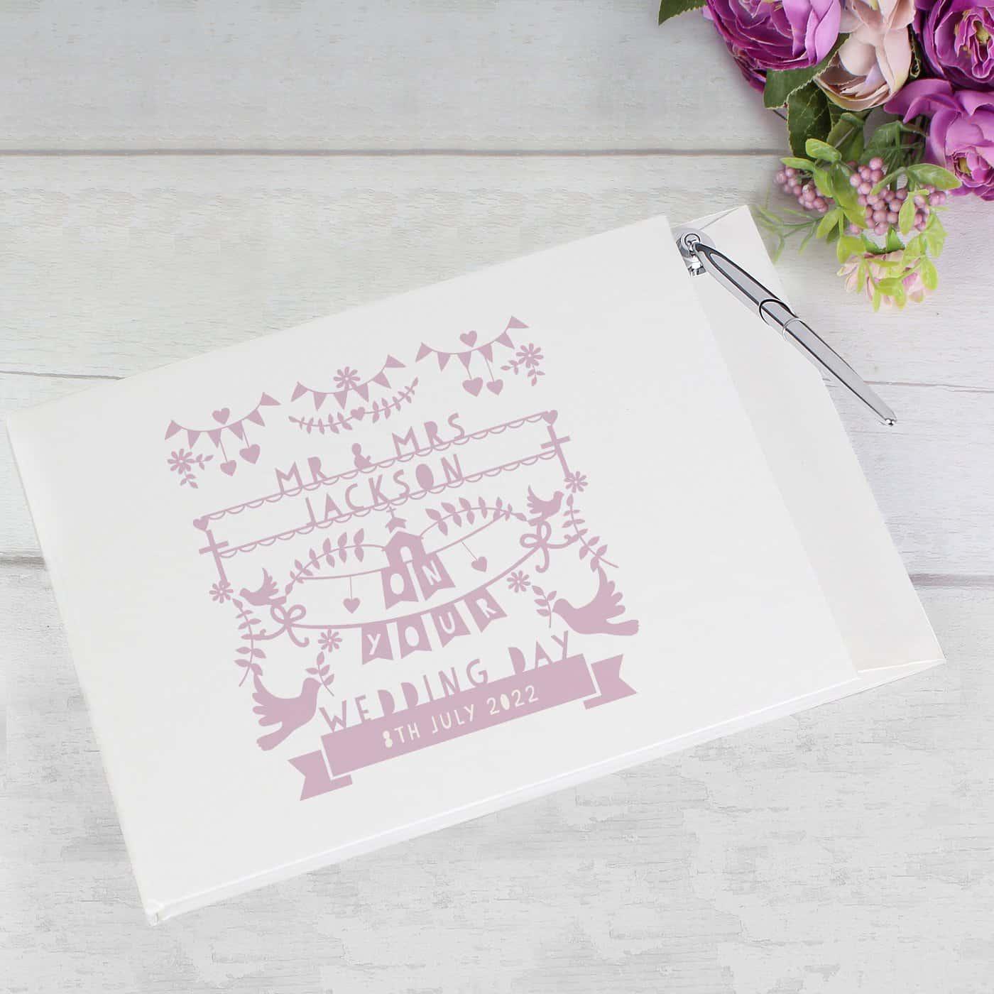 Personalised Pink Papercut Style Hardback Guest Book & Pen